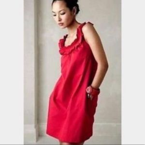 fei | Anthropologie Red Ruffle Strap Dress Pockets